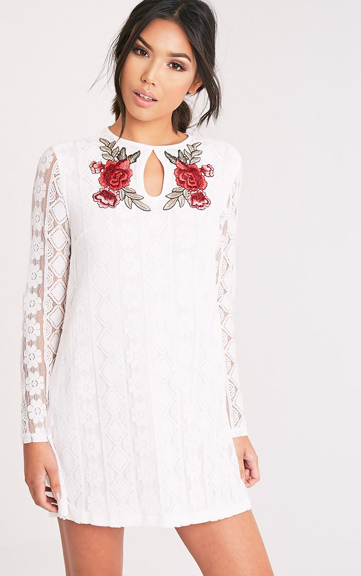 Marney White Embroidered Detail Lace Shift Dress