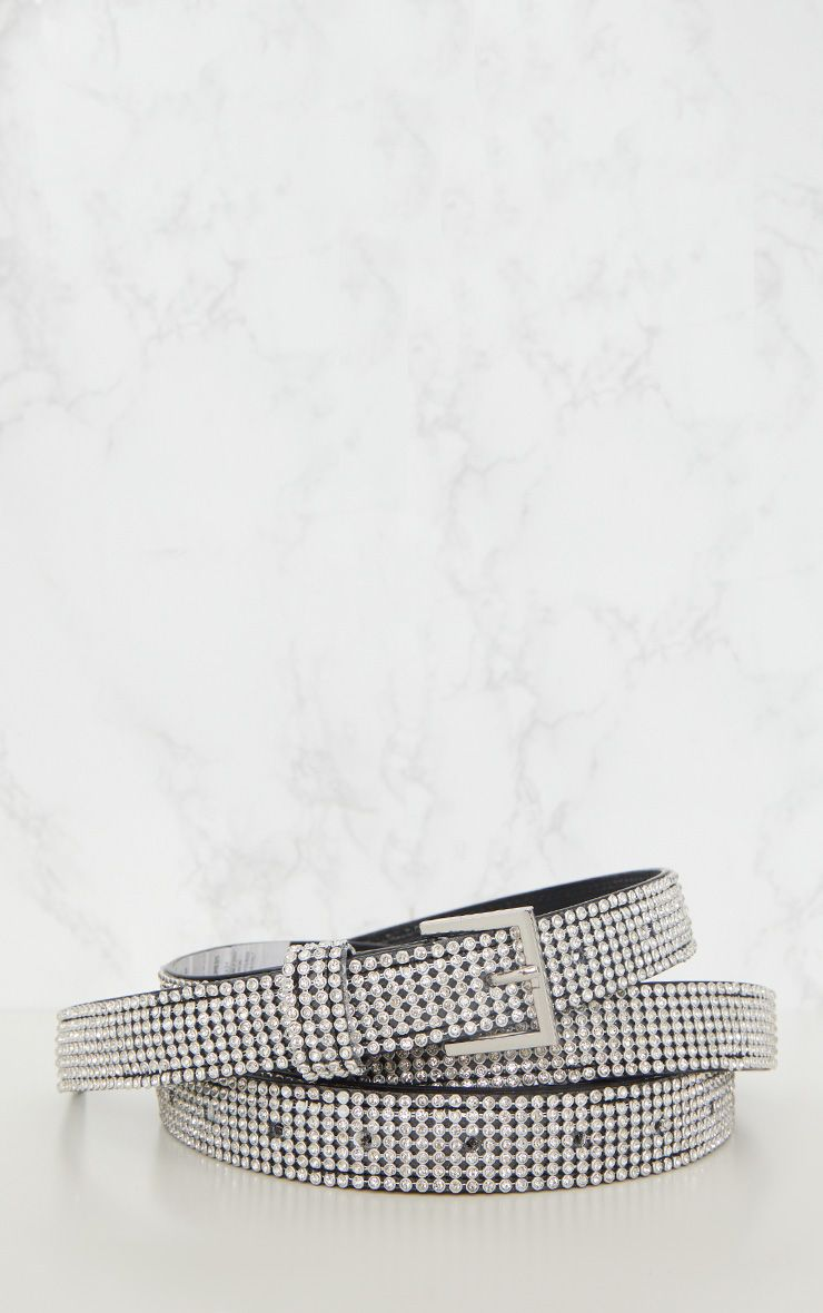 SILVER DIAMANTE DOUBLE WRAP OVER BELT
