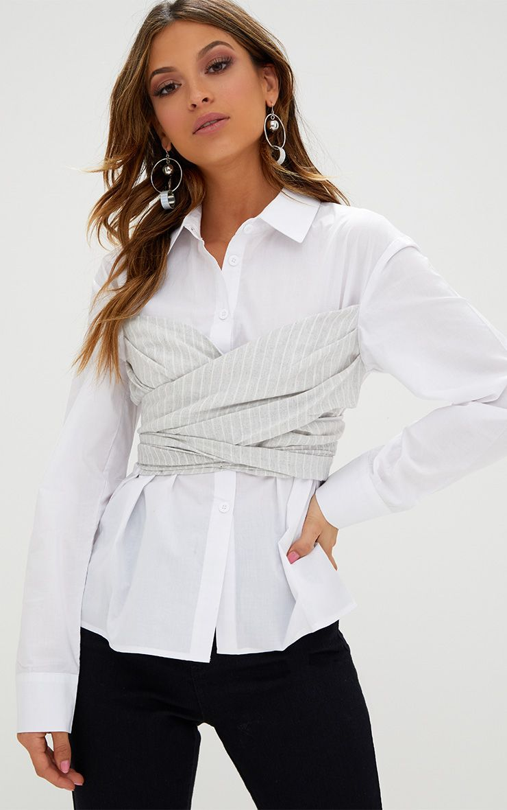 White Bustier Stripe Wrap 2 in 1 Shirt