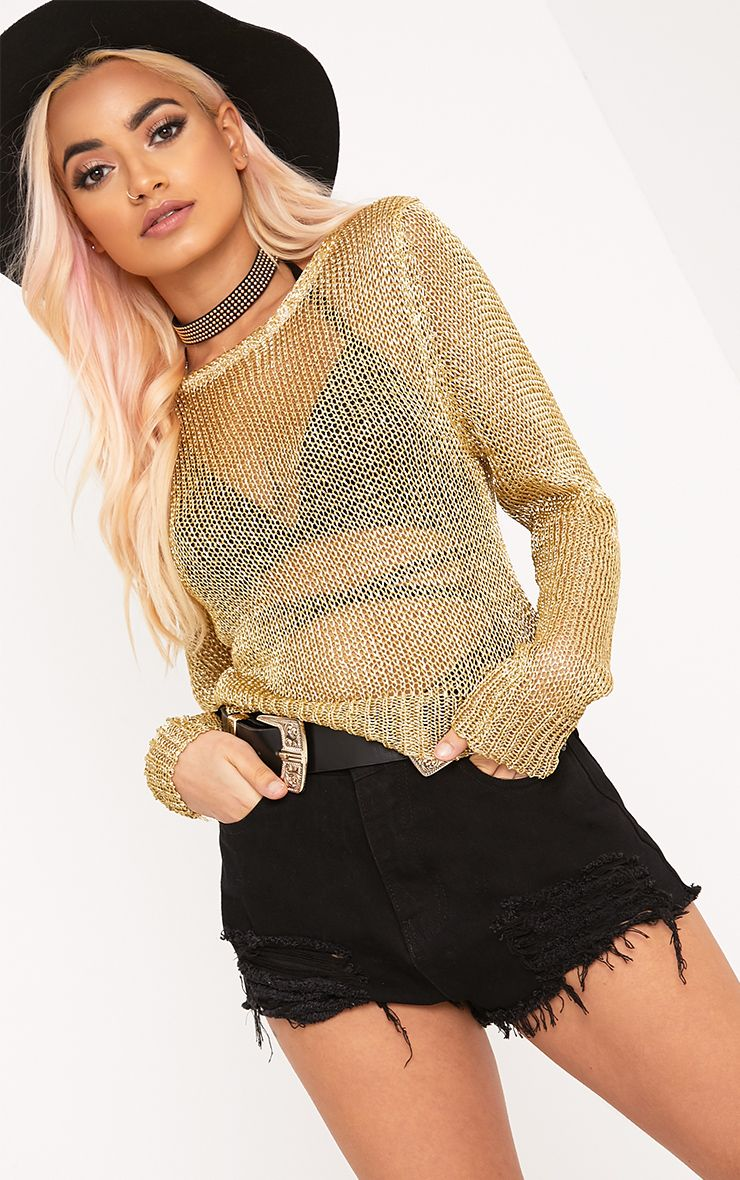Malala Gold Metallic Knitted Crop Jumper 1