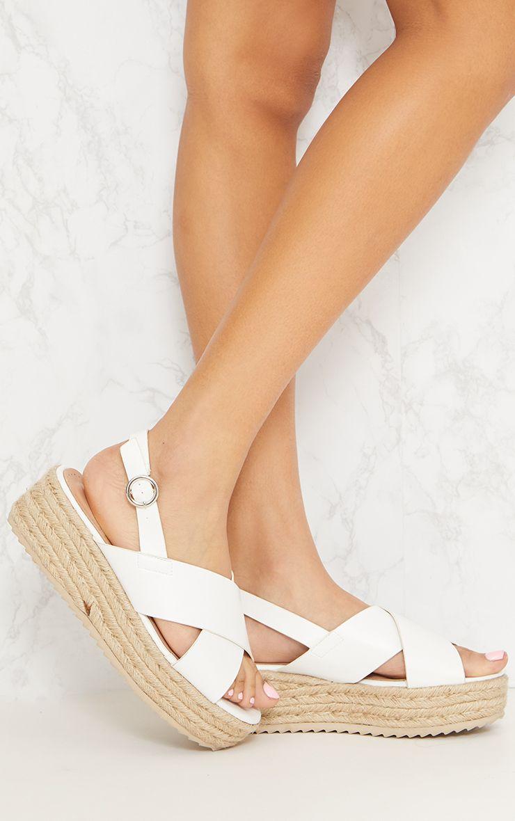 White Cross Strap Flatform Sandal