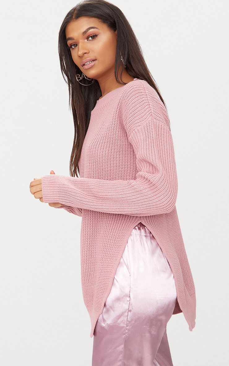 Rexx Mauve Round Neck Side Split Jumper 1