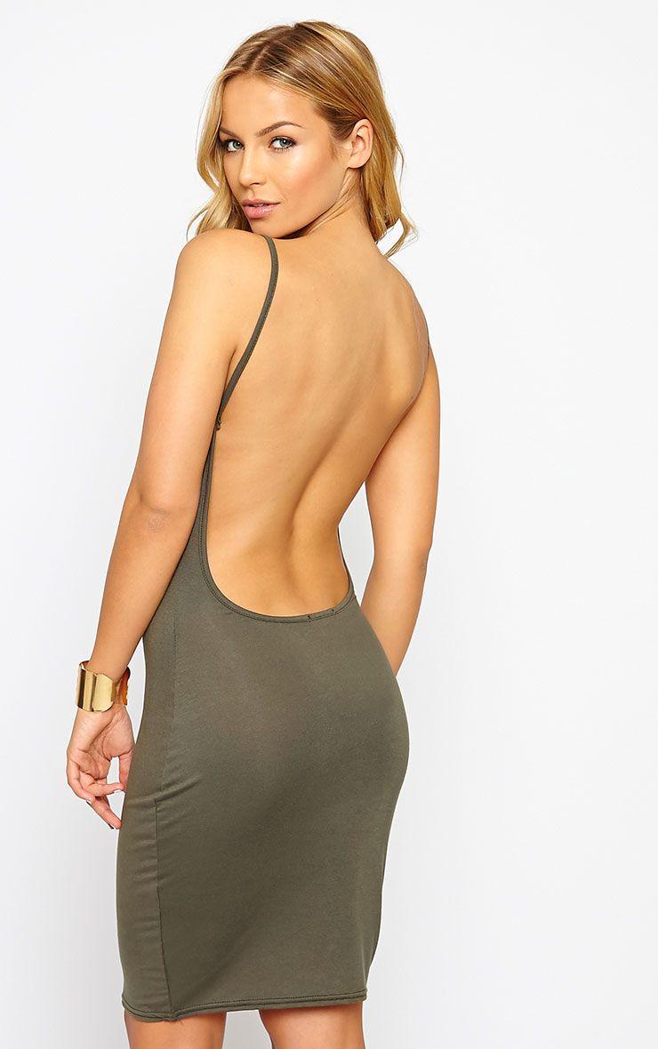 Natallia Khaki Scoop Back Jersey Mini Dress 1