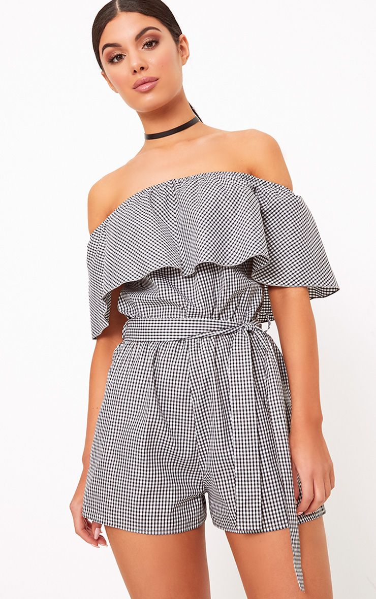 Aliyah Gingham Bardot Playsuit