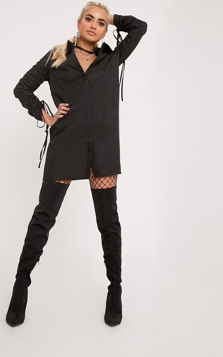 Mandie Black Ruched Sleeve Shirt Dress