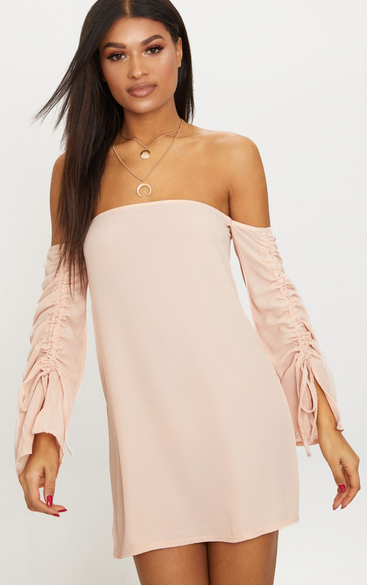 Dusty Pink Ruched Sleeve Bardot Smock Dress