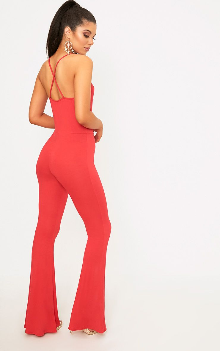 Cilla Red Basic Jersey Flare Leg Jumpsuit