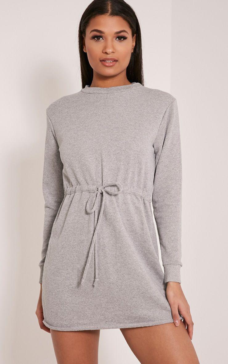 Demmi Grey Tie Waist Sweater Dress 1