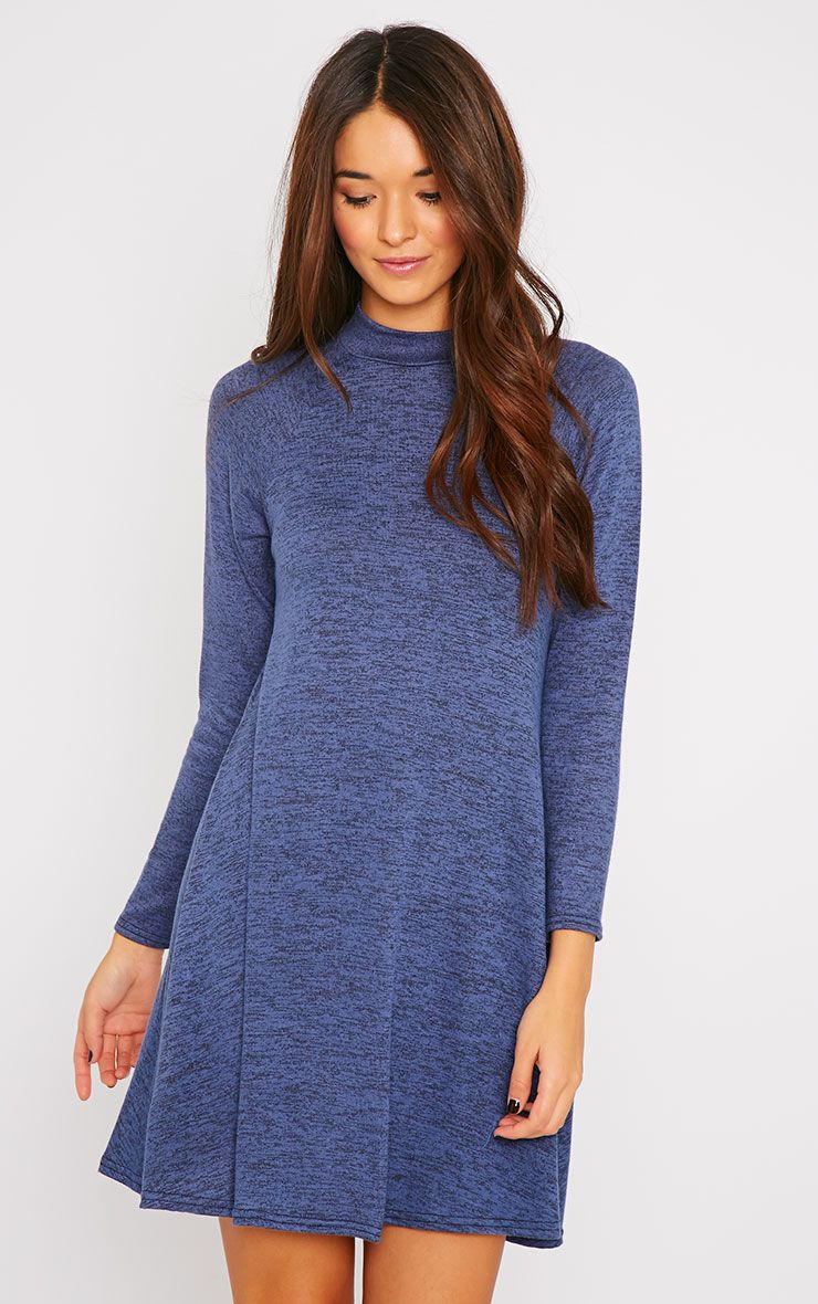 Cara Blue Turtle Neck Knitted Swing Dress 1