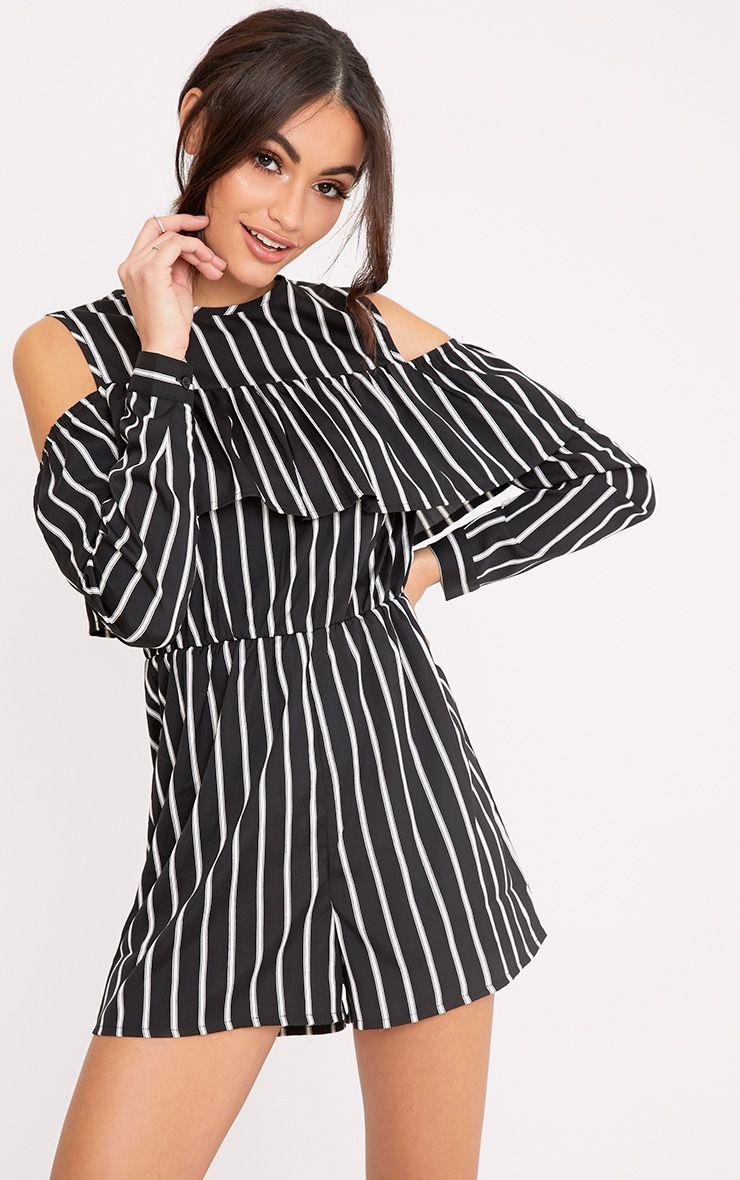 Adali Black Stripe Frill Playsuit