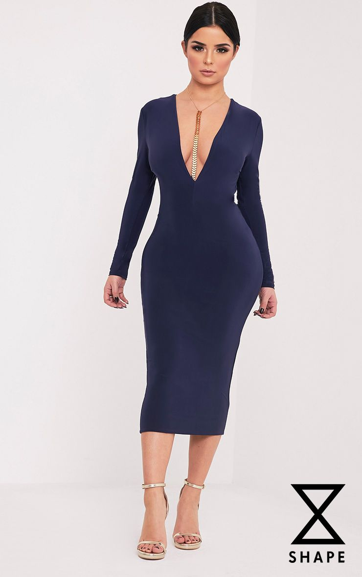 Shape Dennie Navy Plunge Slinky Midi Dress