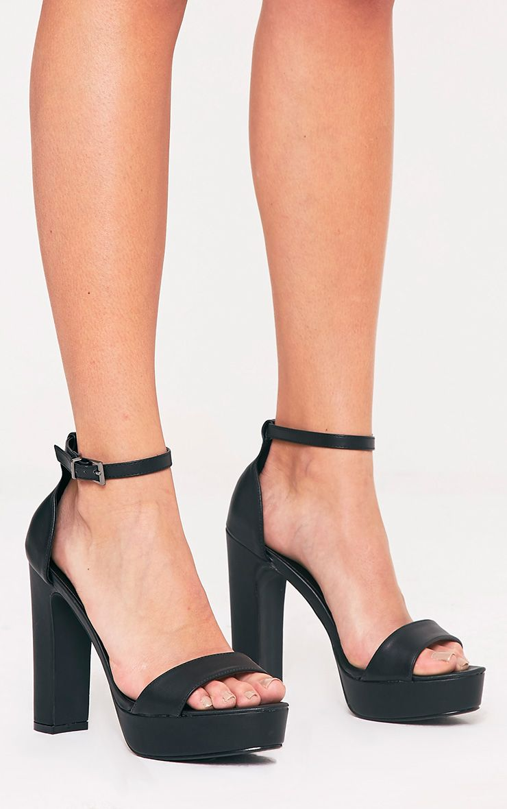 Taya Black PU Platform Sandals 1