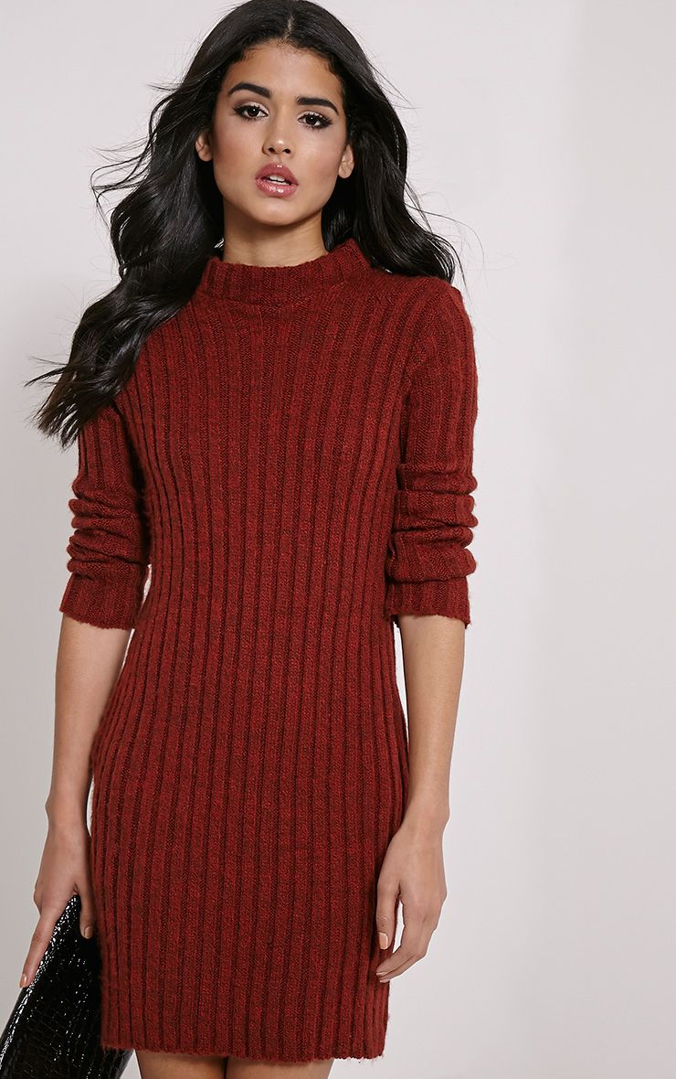 Kirby Rust Marl Long Sleeve Knitted Dress 1