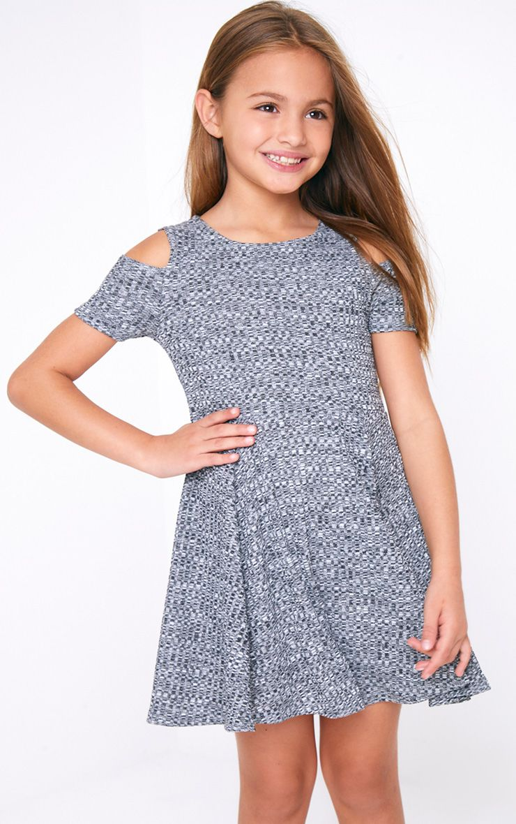 Grey Marl Cut And Sew Knit Rib Dress