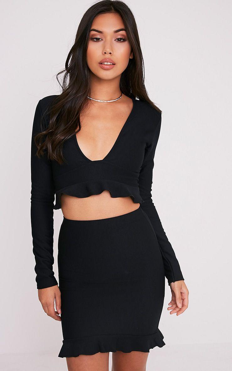 Britallia Black Frill Hem Mini Skirt