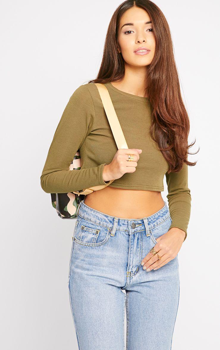 Basic Khaki Long Sleeve Premium Ribbed Crop Top 1