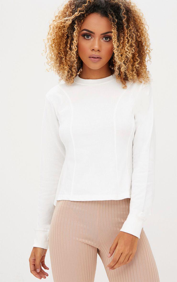 Cream Structured Seam Detail Sweater
