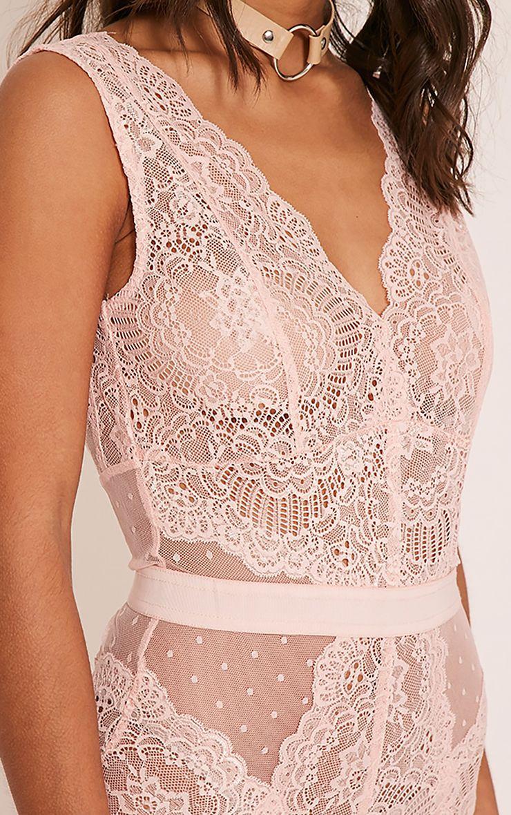 Ezrie Pink Lace Bodysuit - Tops - PrettylittleThing ...