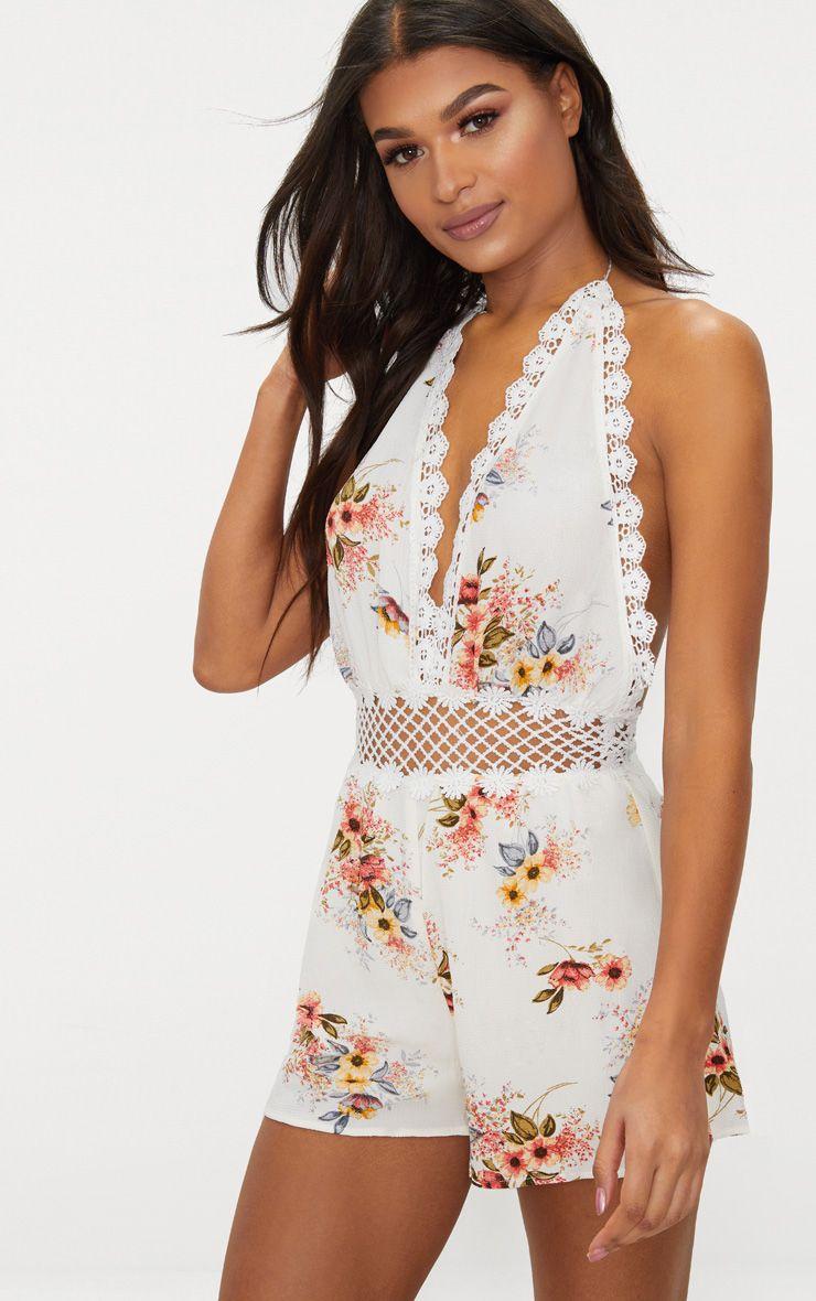 White Floral Crochet Trim Playsuit