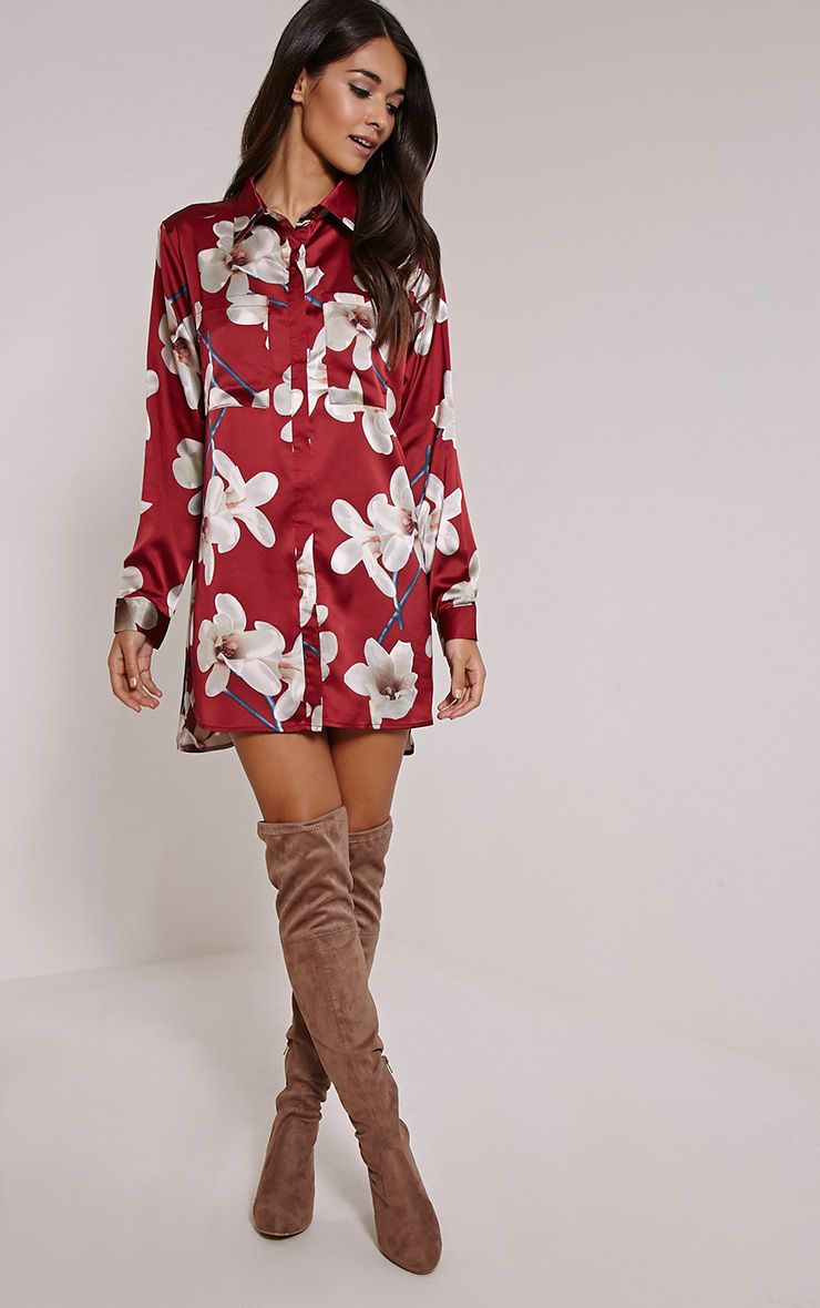 Tricia Red Floral Print Shirt Dress 1