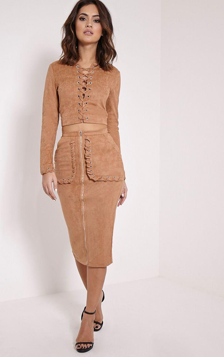 Anna Camel Faux Suede Stitch Pocket Midi Skirt 1