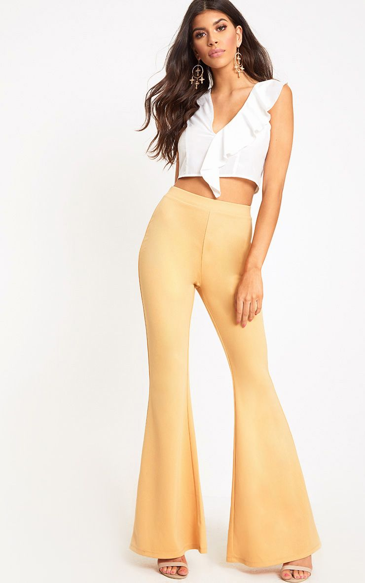 Light Gold Fitted Wide Leg Trousers
