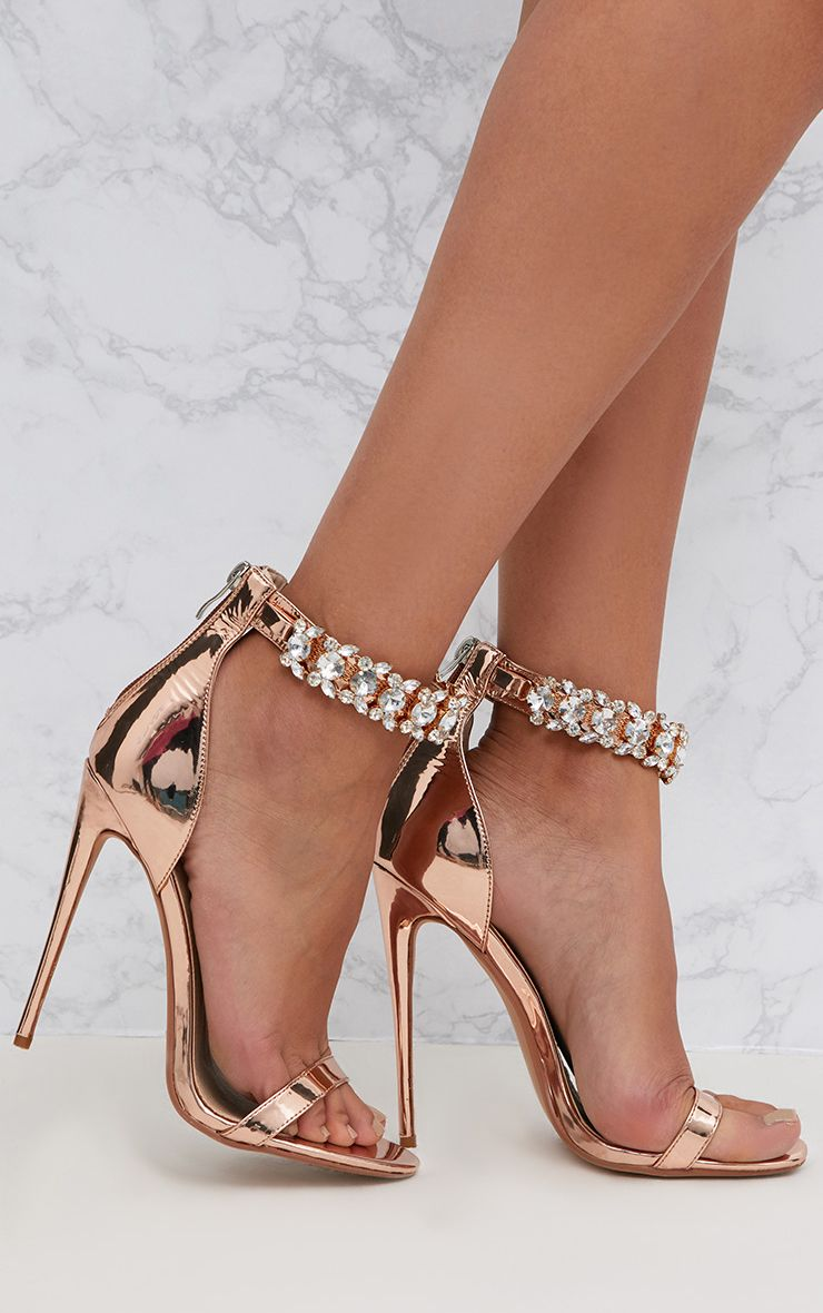 May Silver Strap Heeled Sandals High Heels