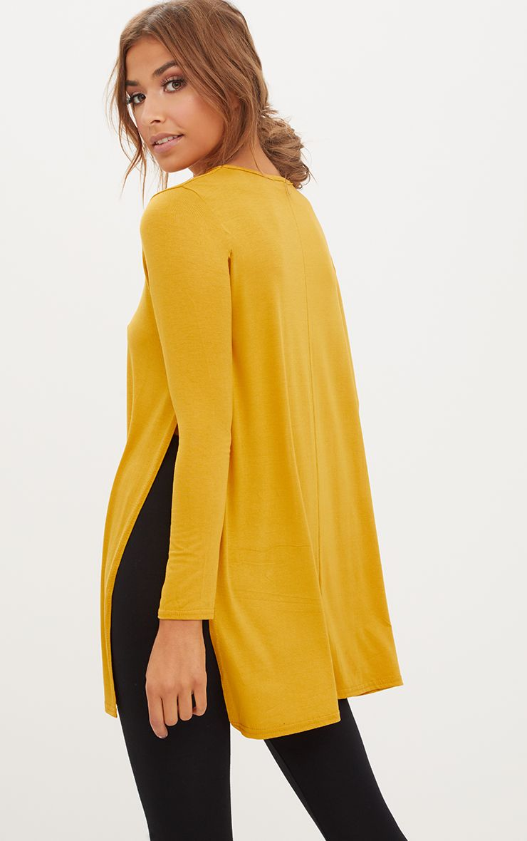 Basic Mustard Longsleeve Side Split Top