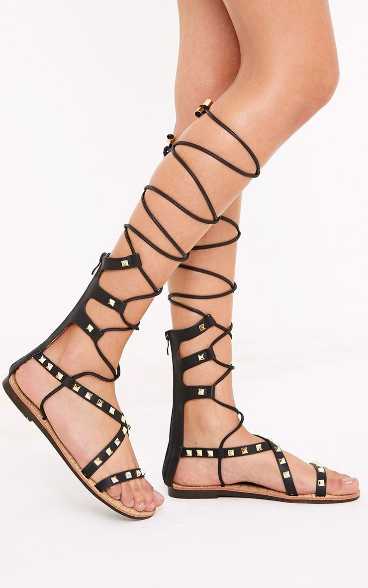 Pippy Black Studded Gladiator Sandals