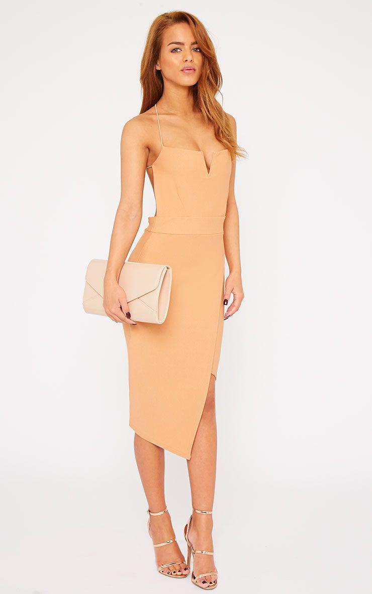 Raye Camel Cross Back Asymmetric Dress 1
