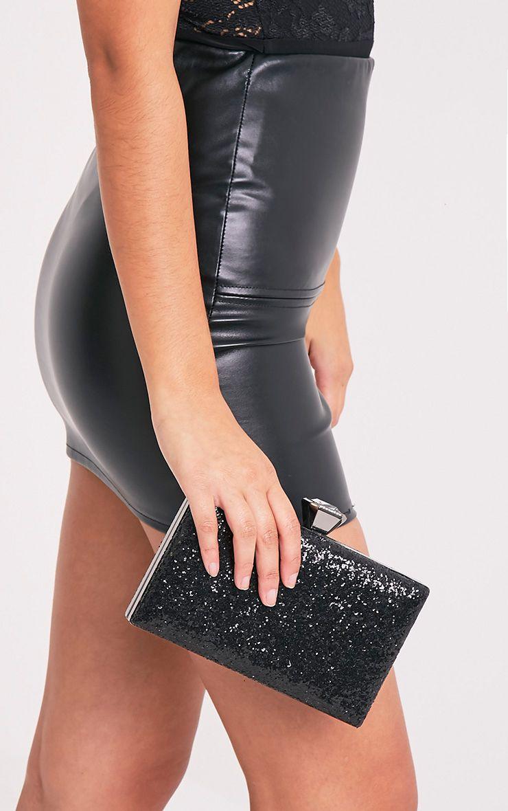 Dinnie Black Glitter Box Clutch Bag