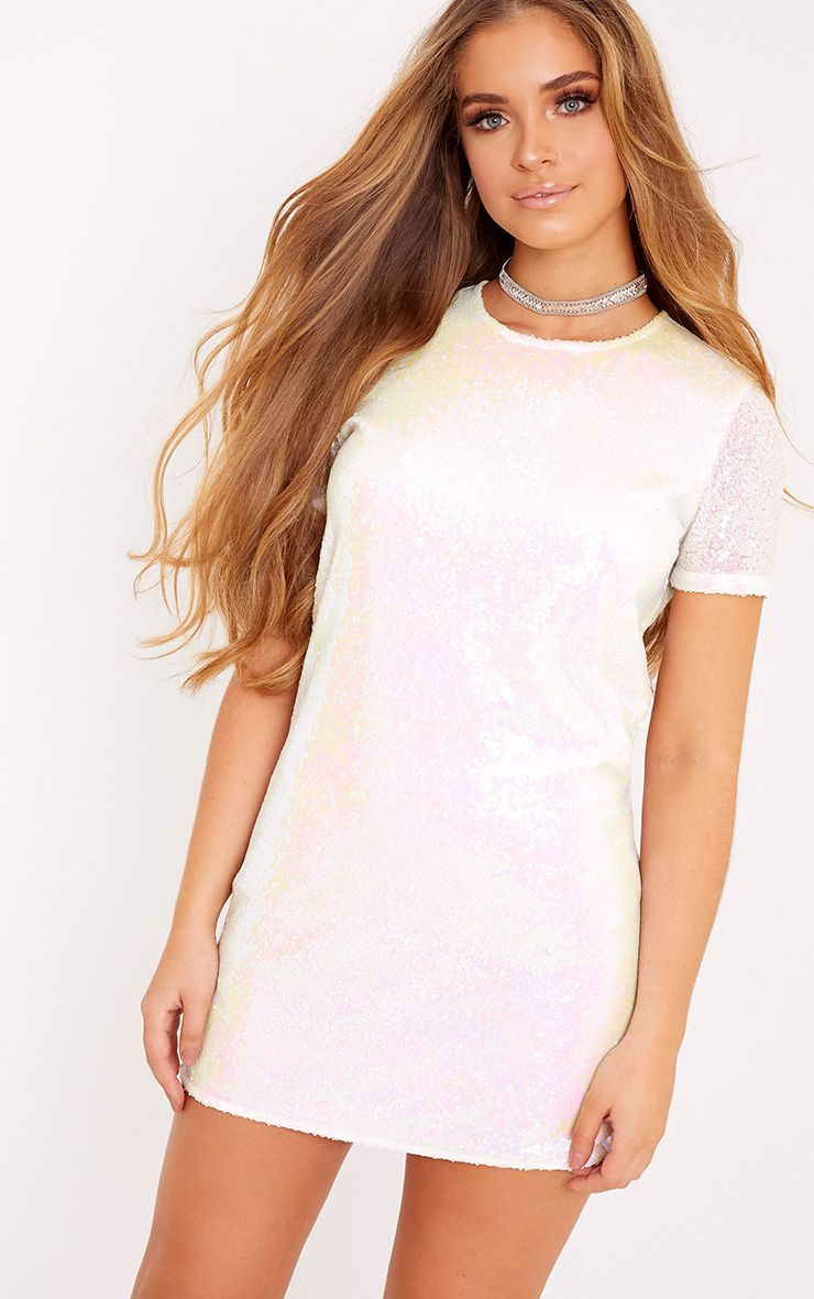 Tanaya White Short Sleeve Sequin T-Shirt Dress
