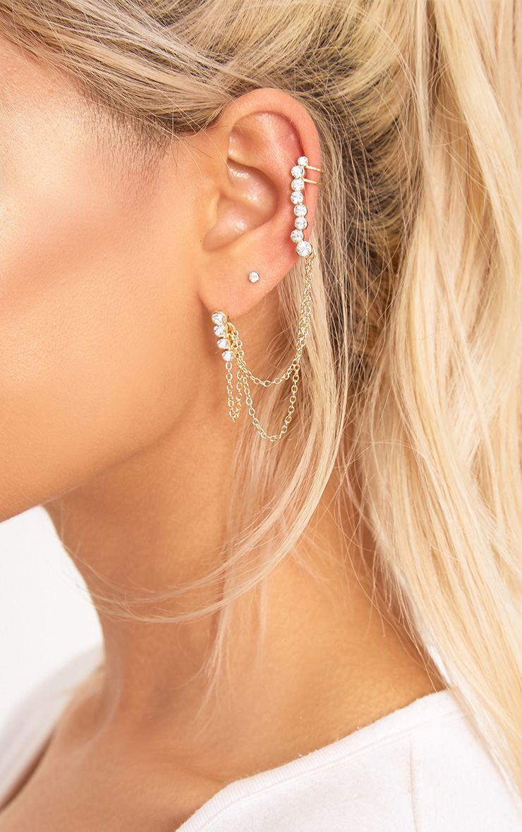 Alicja Gold Diamante Dangle Chain Ear Cuff