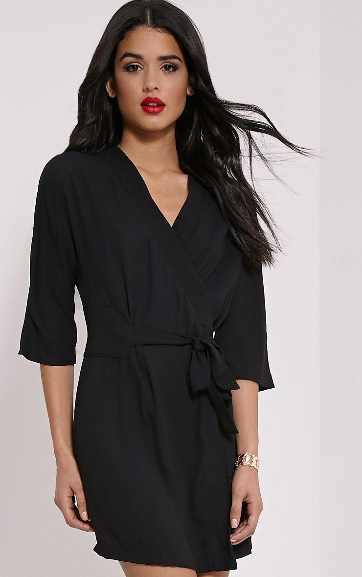 Suri Black Crepe Belted Mini Dress 1