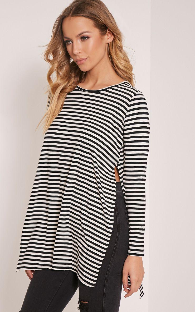 Odette Monochrome Stripe Side Split T-Shirt