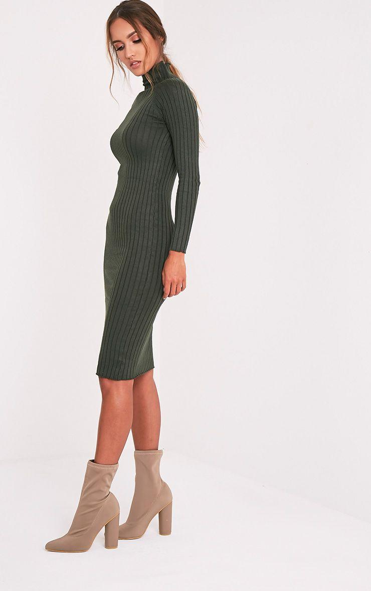 Katalina robe midi kaki tricotée à côtes larges 5