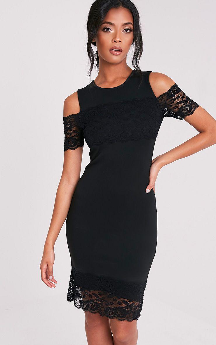 Kayra Black Lace Trim Cold Shoulder Midi Dress