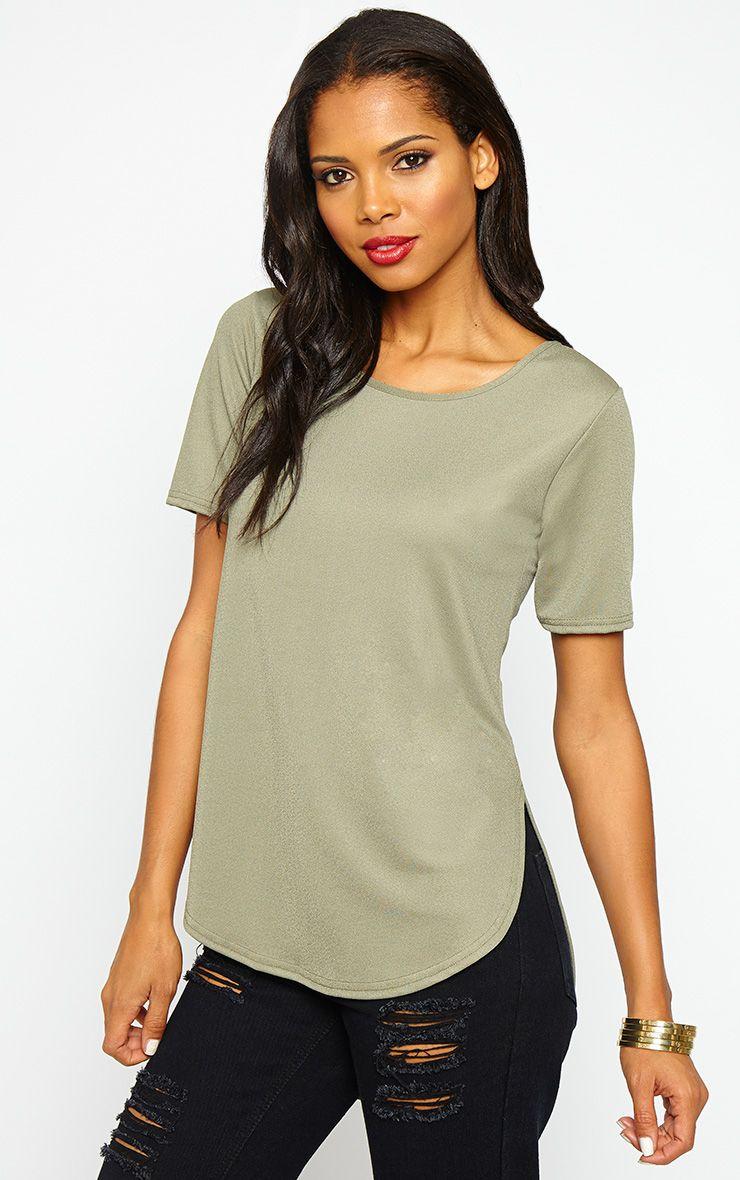 Caddie Khaki Drop Hem T-Shirt 1