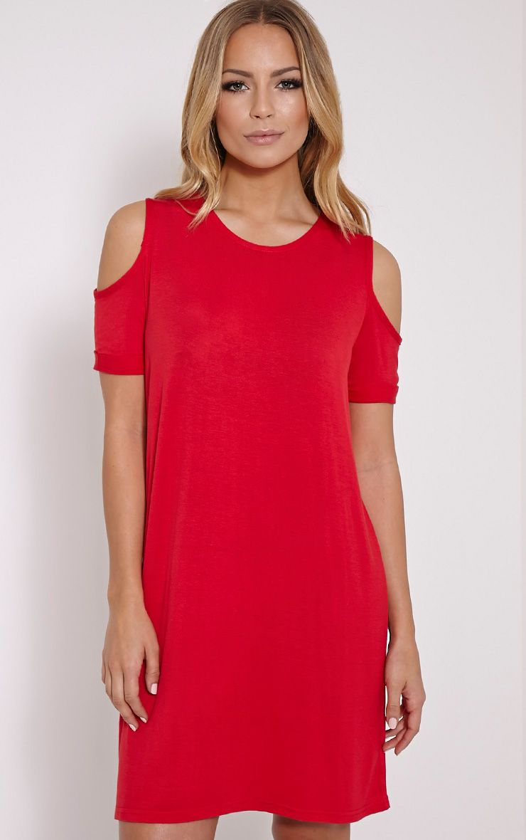 Basic Red Cut Out Shoulder Dress 1
