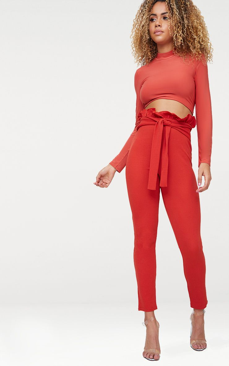 Tobacco Paperbag Waist Skinny Trousers