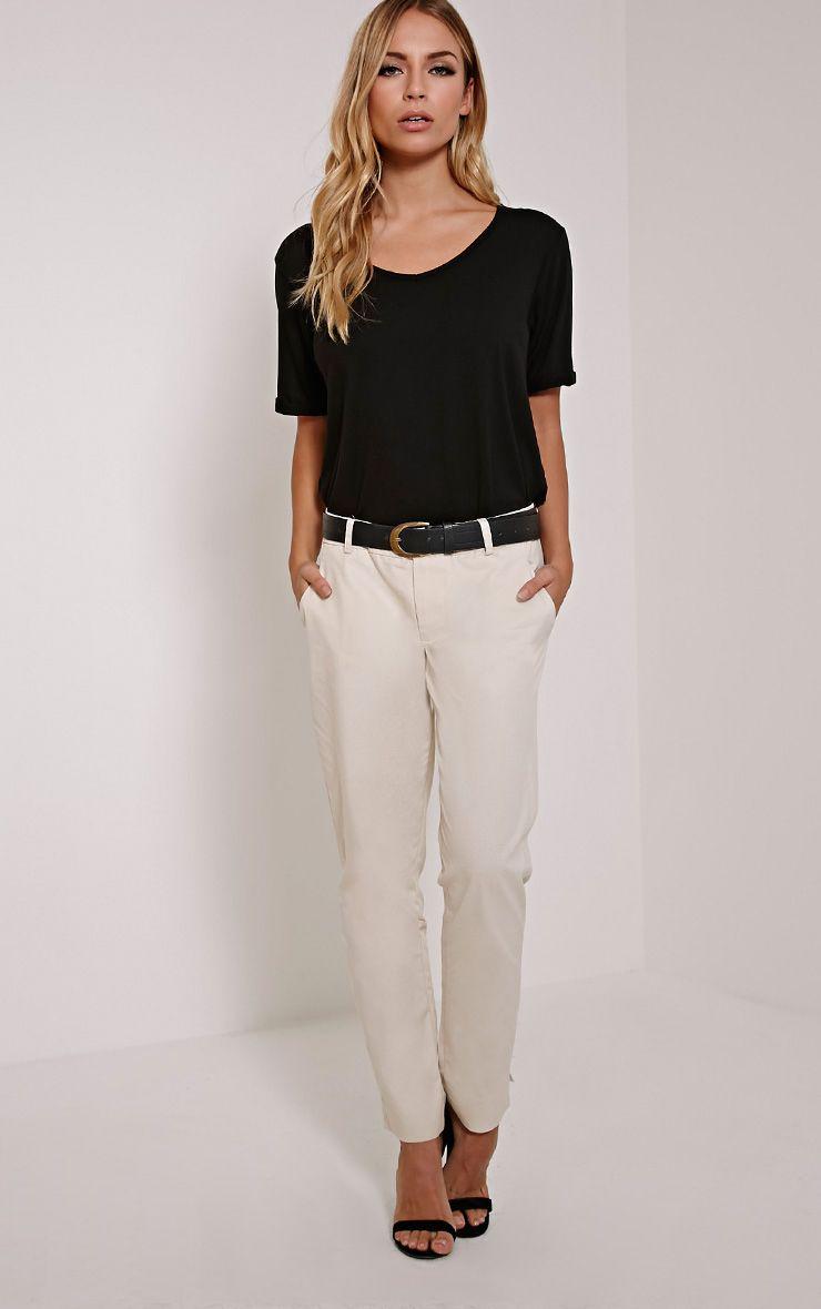 Julinda Beige Peg Trousers 1
