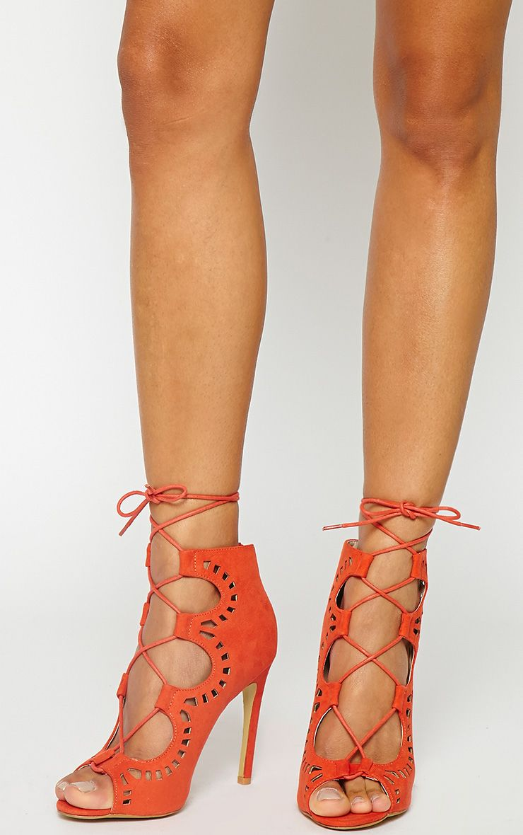 Xylia Orange Cut Out Detail Heels 1