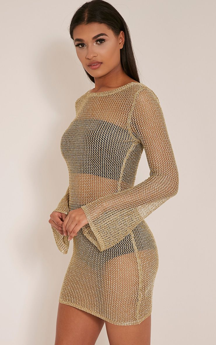Eshe Gold Metallic Knitted Mini Dress