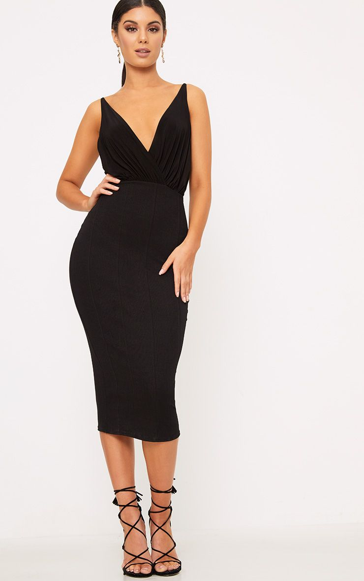 Black Slinky Plunge Bandage Midi Dress