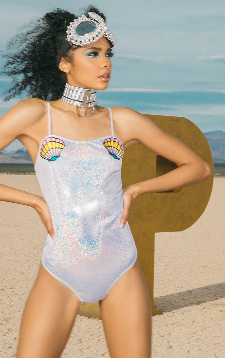 Fathie Silver Metallic Mermaid Shell Applique Thong Bodysuit