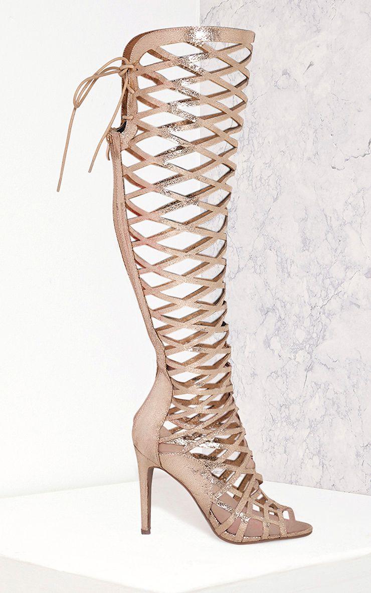 Annalisa Gold Metallic Caged Knee High Sandals 1
