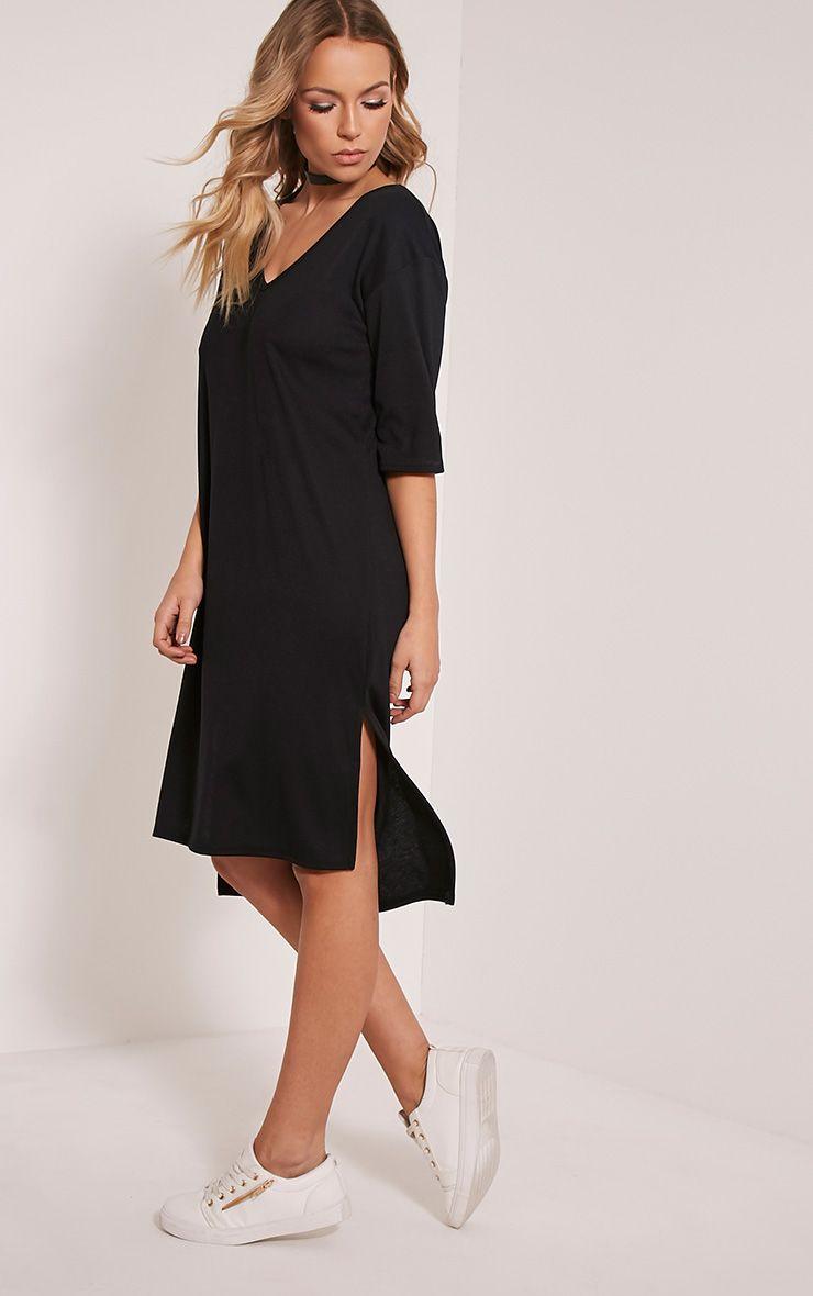 Anitra Black Ribbed Step Hem Dress 1