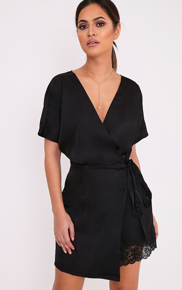Sereene Black Silky Lace Trim Kimono Dress