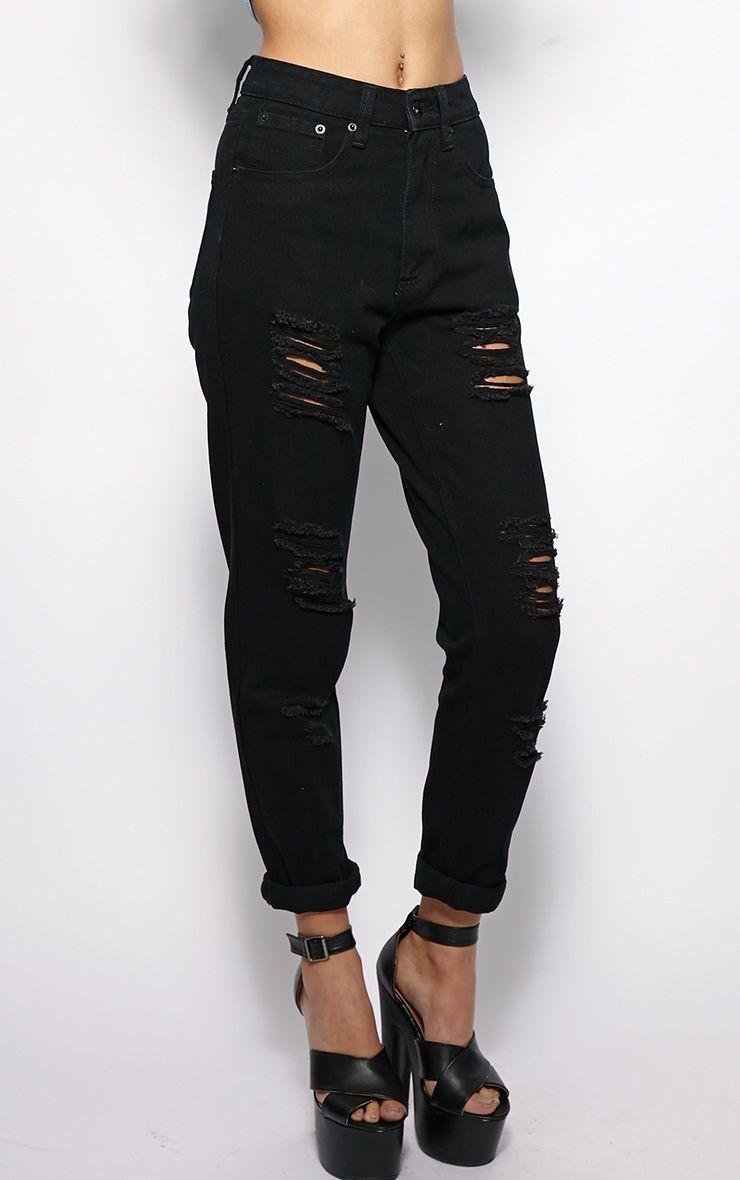 Rhianne Black Ripped Boyfriend Jeans Jeans
