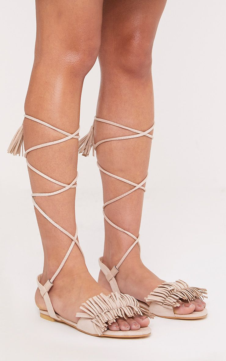 Alis Stone Tassel Lace Up Flat Sandals